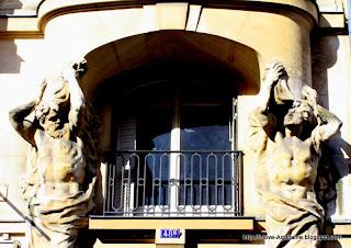 Statues around a window
