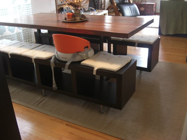 Lack shelving unit as dining benches for Ikea shelf bench hack
