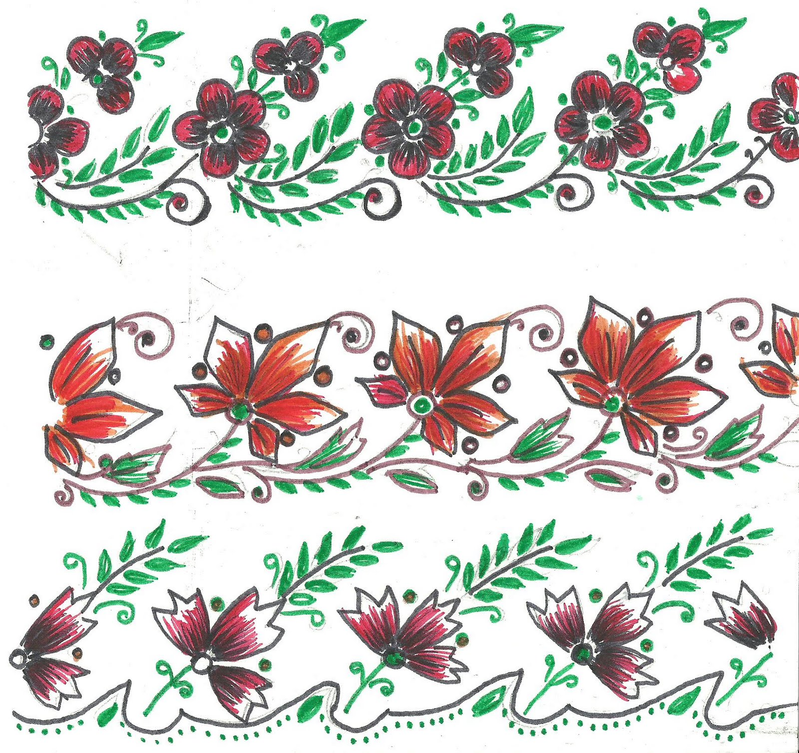 Embroidery Designs for Sarees Border http://artcraftetc.blogspot.com/p/fabric-paint.html