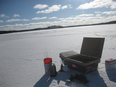 ice fishing in michigan, gear, rods, reels, tipups