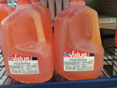 kroger value orange beverage, orange drink, gallon, water and sugar