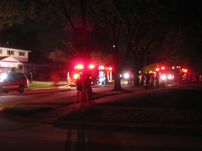 firetrucks on my street, house fire, neighborhood out to watch