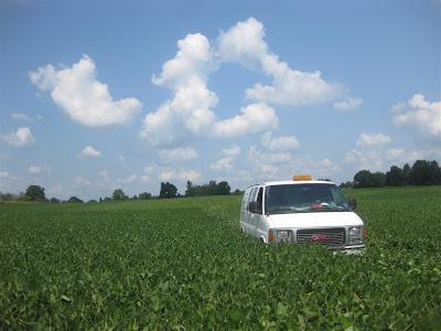driving a van through a soy bean field, jackson michigan