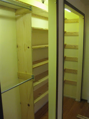diy, how to build bedroom closet shelves, make wood closet shelves