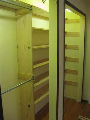 diy, how to build bedroom closet shelves, make wood closet shelves