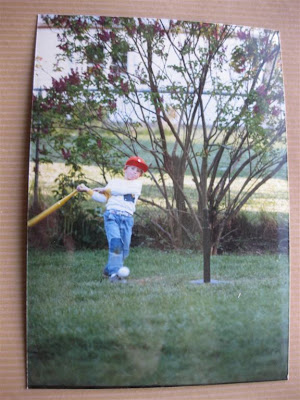 playing baseball in the backyard, tball, yellow bat,