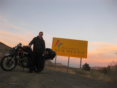 new mexico state line, motorcycle ride, USA