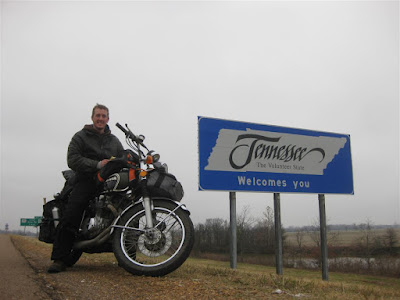 Tennessee state sign, cross country motorcycle trip, honda
