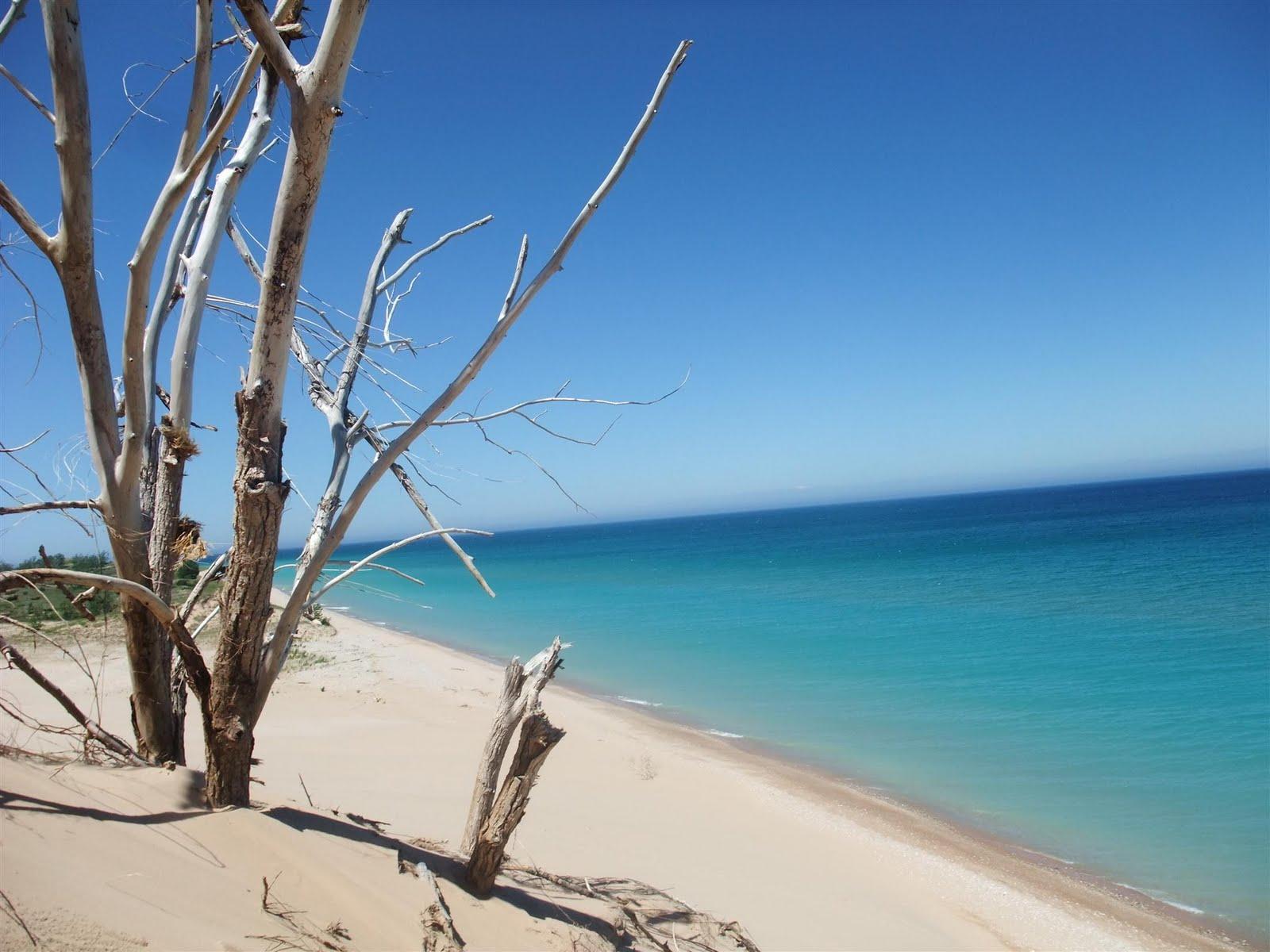 michigan sleeping bear dunes, great lake, lake michigan, sand, water