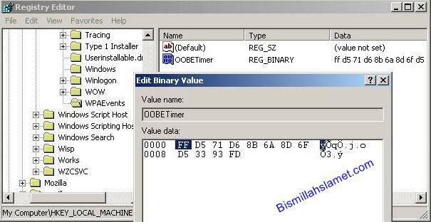 Selanjutnya,Modif atau rubah value OOBETimer nya,caranya klik kanan ...