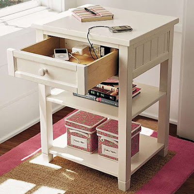bedside table with built-in charging station from Pottery Barn Teen