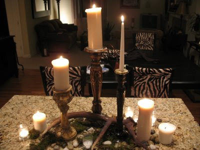 And check out those zebra print chair covers These textured wood candles