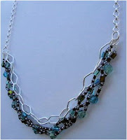INCREDIBLE BLUES, GREENS AND BLACKS NECKLACE