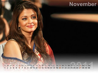 New Year 2011 Calendar, Aishwarya Rai Desktop Wallpapers