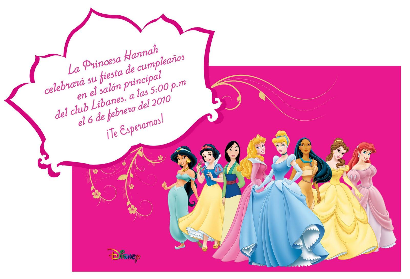invitacion de cumpleanos princesas