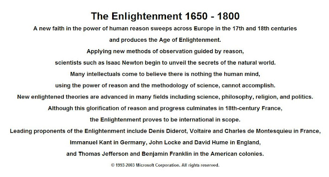 Leading proponents of the Enlightenment include Thomas Jefferson and Benjamin Franklin