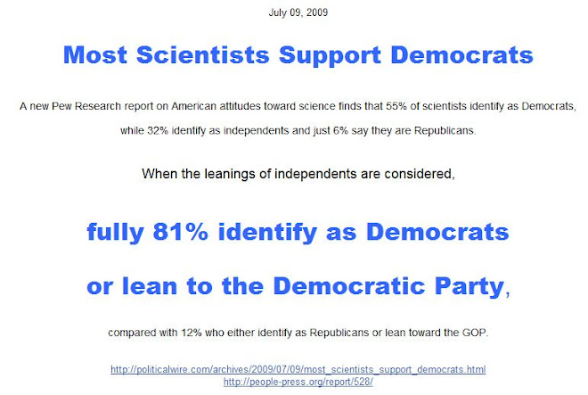 Most Scientists Support Democrats