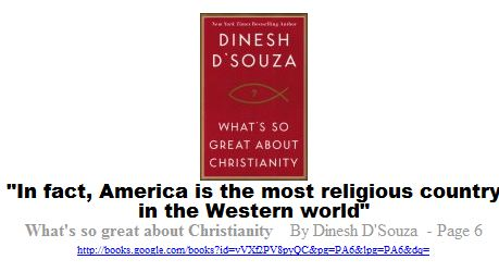 in fact, America is the most religious country