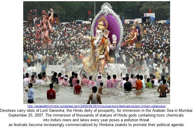 Devotees carry idols of Lord Ganesha