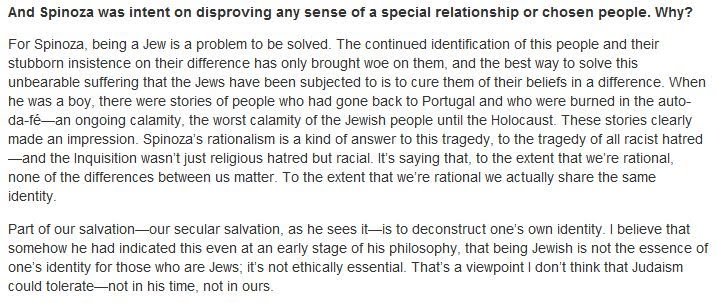 Spinoza was intent on disproving any sense of a special relationship or chosen people. Why?