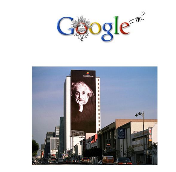 Einstein Google logo and Apple billboard