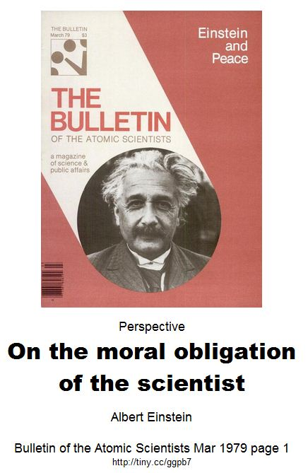 Einstein and peace - Perspective On the moral obligation of the scientist