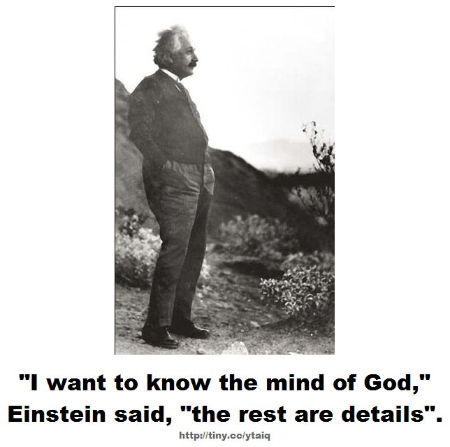 "I want to know the mind of God, Einstein said, ""the rest are details""."