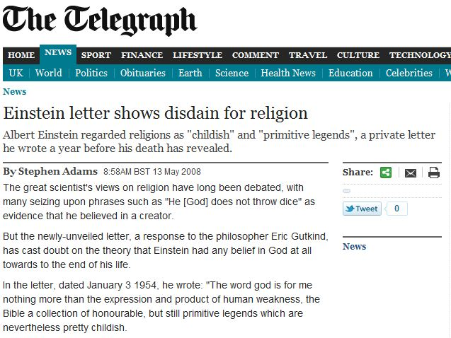 Einstein letter shows disdain for religion.