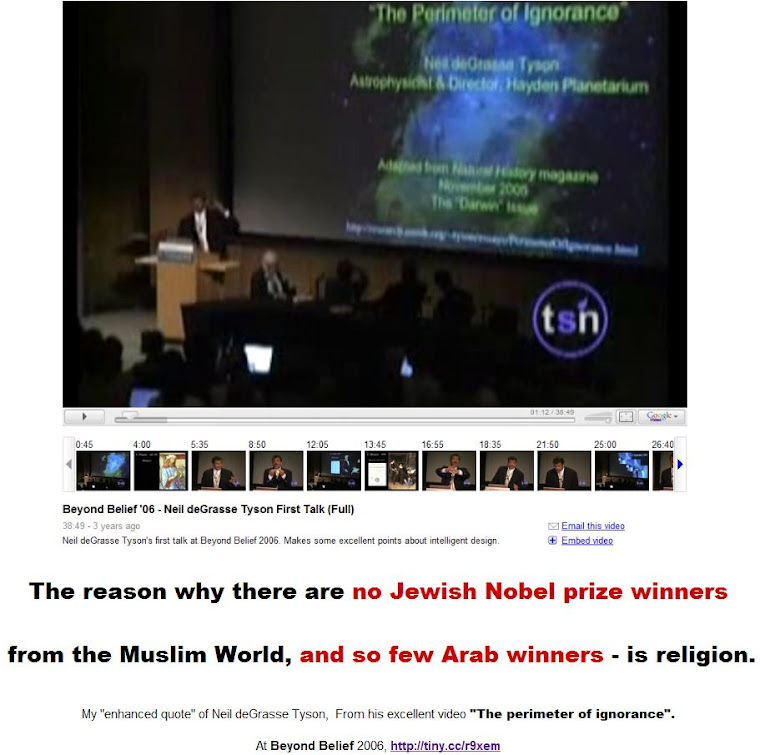 No Jewish Nobel Prize winners from the Muslim World.