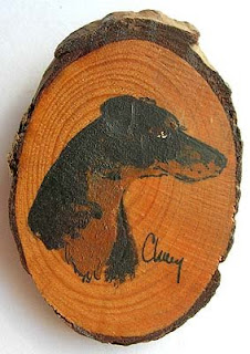 Hand painted wood artisan Doberman pin