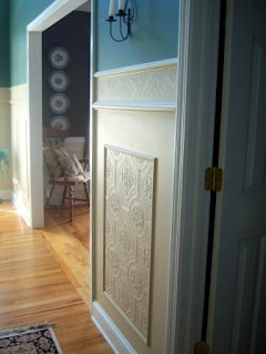 create faux carved wainscoting with textured wallpaper