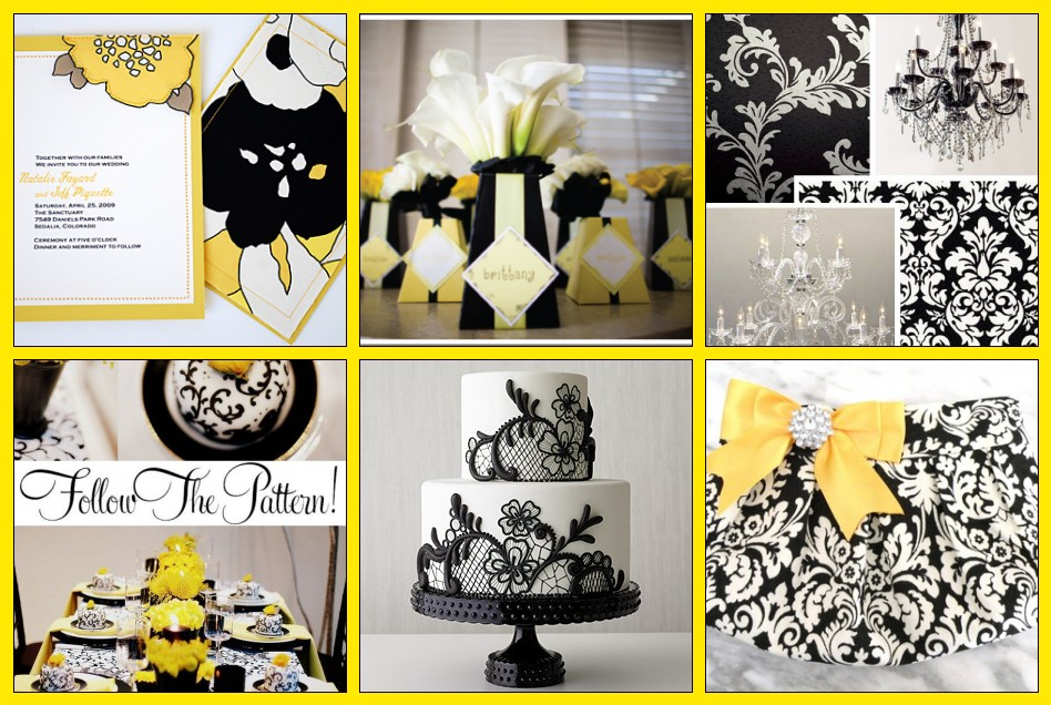 Bridal Inspiration Board Yellow Black Damask