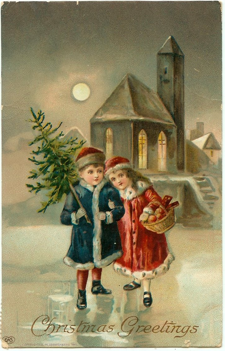 old christmas postcards - free to download