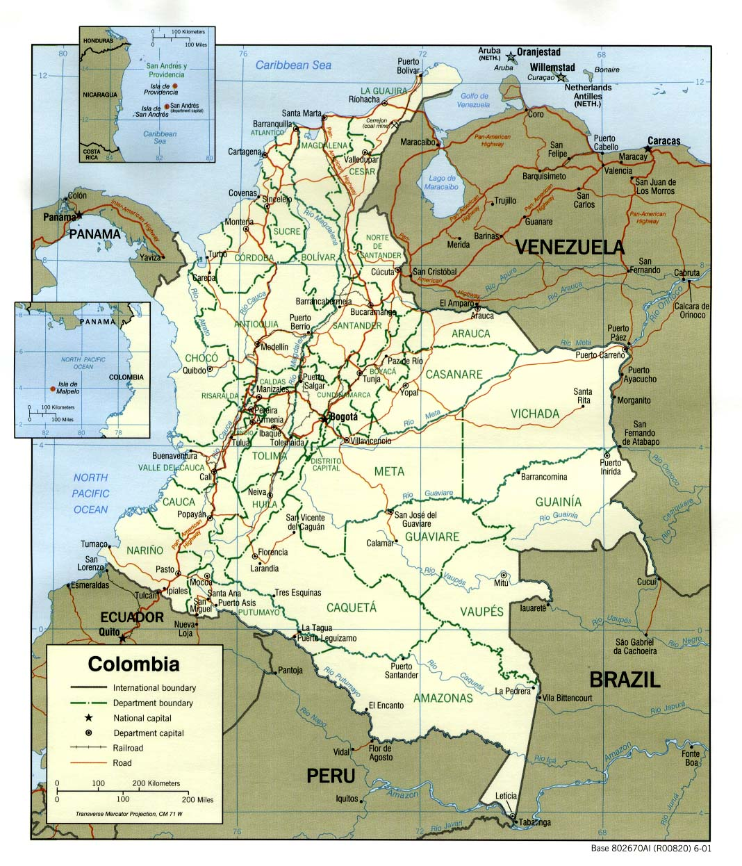 Historia del Transporte en Colombia y el Eje Cafetero (map colombia pol )