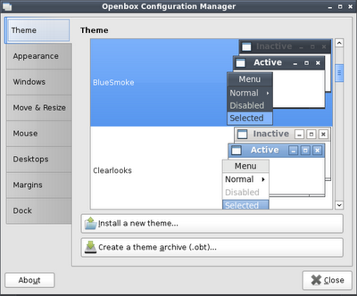 Obconf Screenshot
