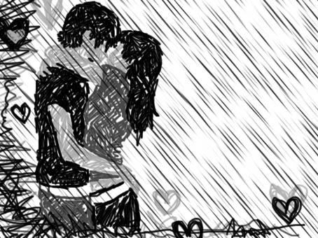 romantic couple kissing in rain. couple+kissing+in+the+rain