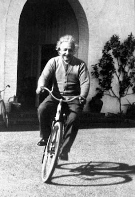 Einstein on a bike in California
