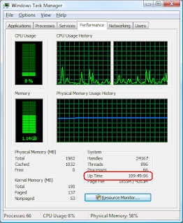 How to find system uptime for windows xp vista and windows server