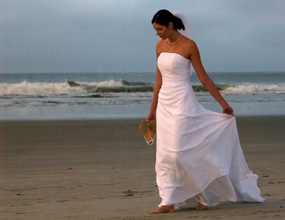Casual beach wedding gown simply romantic white casual bridal gown