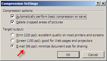 Reduce Powerpoint file sizes