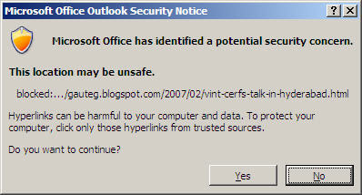 Outlook 2007 Warnings and Error Messages