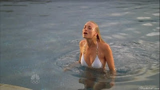 Yvonne Strahovski coming out of the pool