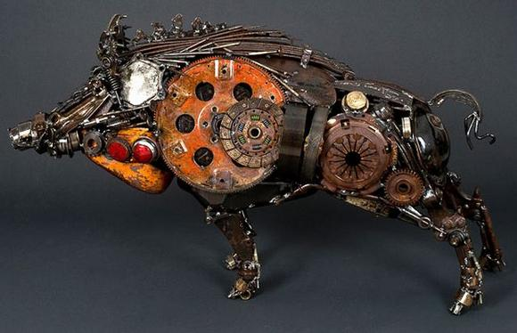 11 amazing Sculptures made By Car Parts 11