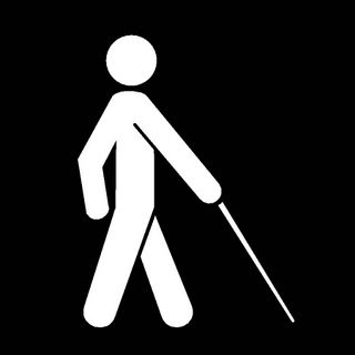 Black and white sign for people who are blind