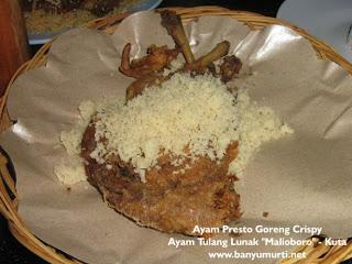 "Kuliner 87 - Ayam Tulang Lunak ""Malioboro"", Kuta"