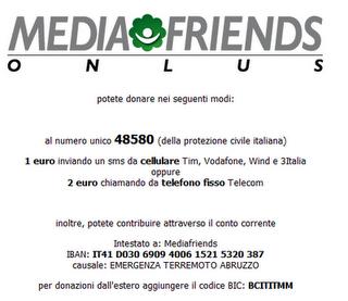 Donazione Terremoto Abruzzo 6 Aprile 2009