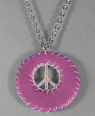 Jessica Simpson Purple Leather Peace Necklace