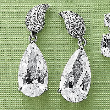 White Topaz Pear Drop Earrings