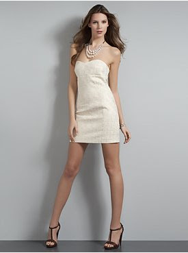 Metallic Brocade Strapless Mini Dress