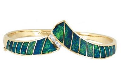Asher - Gold Opal & Diamond Bangle